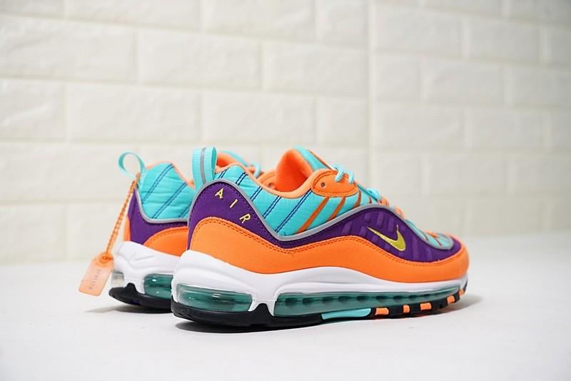 Купить Nike Air Max 98 оранжевые с голубым синим и фиолетовым с ... f201134bbfa